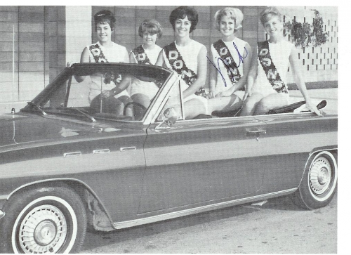 The 1963 Majorettes:  Jean Zimmerman, Linda Aikens, Sandy Germaine, Mike Cetinich, Judi Allison.  I think this is Sandy